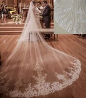 real photos 4m long 3m wide cathedral length wedding veils lace appliqued bridal head veils with comb accessories velos de novia