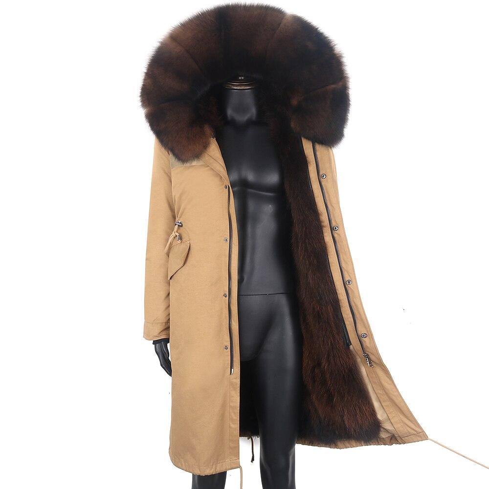 2021 معطف الشتاء الرجال X-طويلة سترات 7XL ريال فوكس الفراء بطانة مقاوم للماء الطبيعية الراكون الفراء طوق هود سميكة الدافئة الذكور سترة