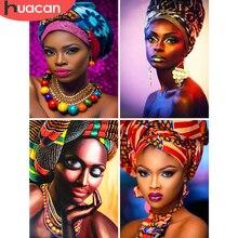 HUACAN-peinture diamant avec Portrait de femmes africaines, image de broderie complète 5D, perles carrées, décoration dintérieur, à faire soi-même