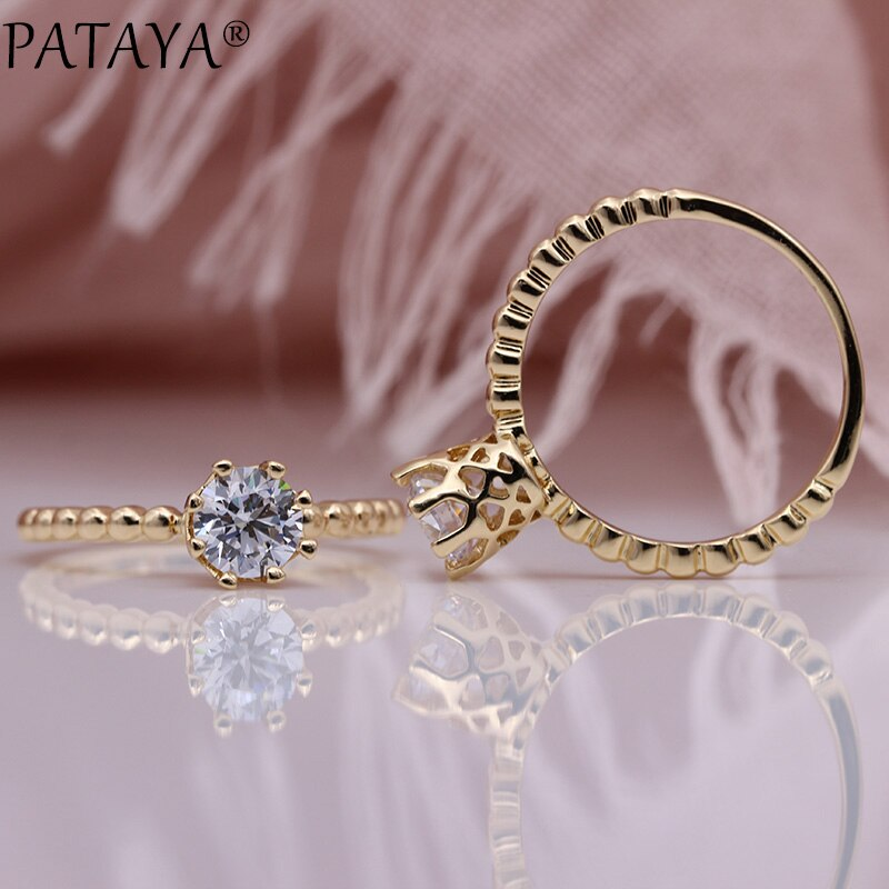 PATAYA nuevos anillos de princesa 585 oro rosa redondo blanco Natural zirconia boda fiesta mujeres joyería de moda lindos anillos finos huecos