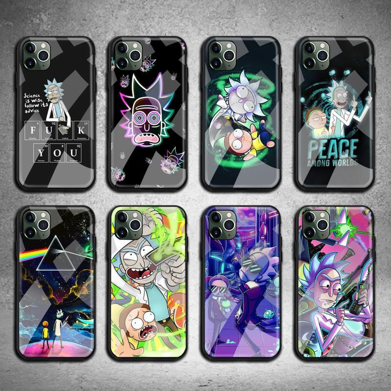 Ricks dos desenhos animados mortys caso de telefone vidro temperado para iphone 11 pro xr xs max 8x7 6s 6 plus se 2020 caso
