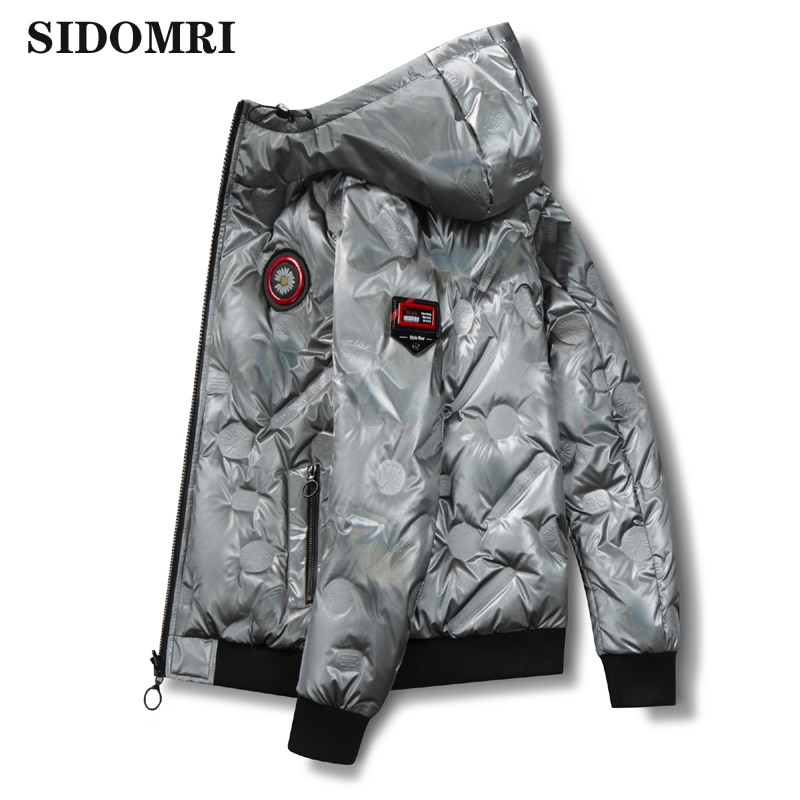 Winter mens down jacket two sides gloosy black and red color wear 90% white duck down down jacket casual fashion high quality