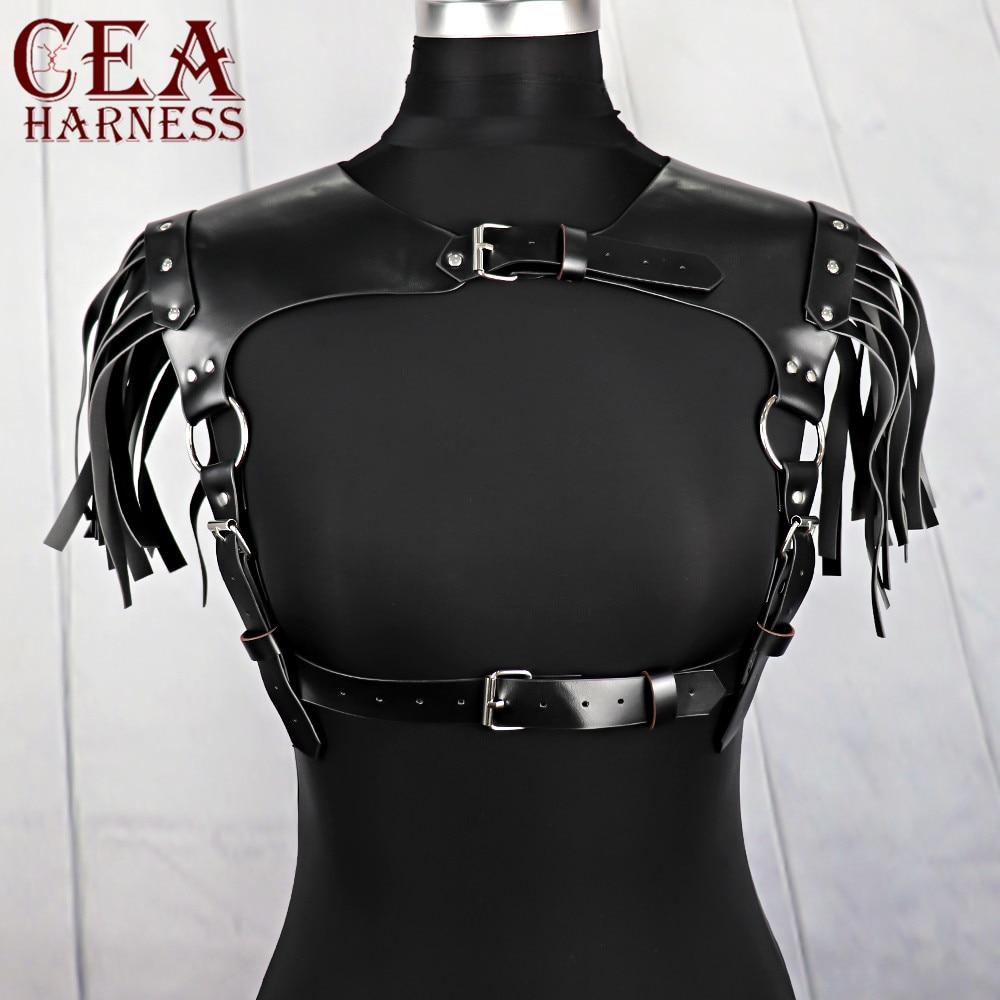 CEA, cinturón gótico de cuero, arnés de pecho, liguero de Bondage, cinturón erótico, cinturón Sexy ajustable para sujetador Harajuku, cinturones