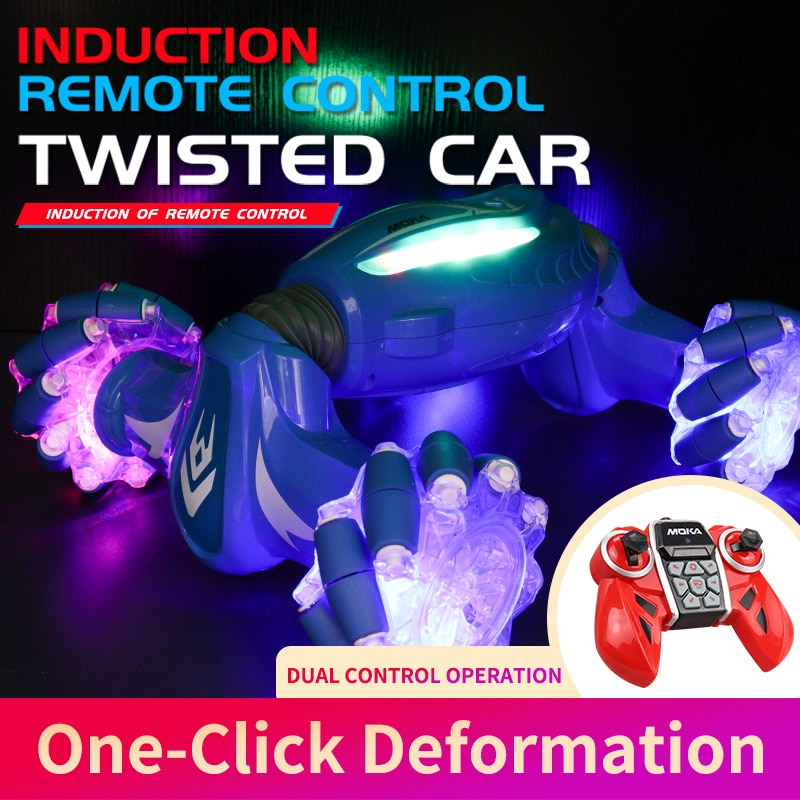 2.4GHz 4WD RC Car Radio Gesture Induction Music Light Twist Remote Control Stunt Car Off-Road Vehicle Drift RC Toys Gift for Kid