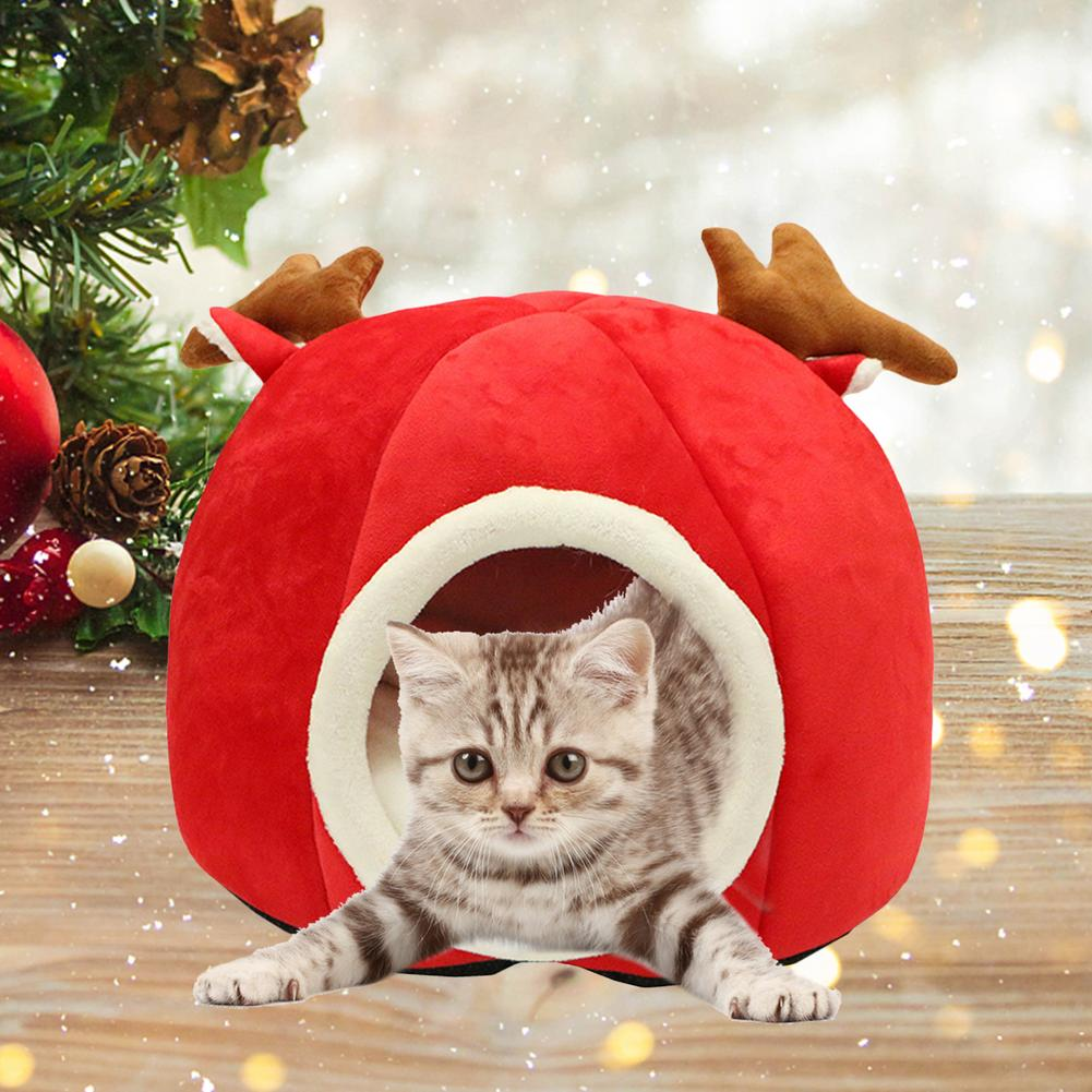 Cute Antlers Shape Cat Dog House Bed Cave Comfy Soft Flannel Warm Kitten Puppy Sleeping Mat Bed House Pets Product 2020 New