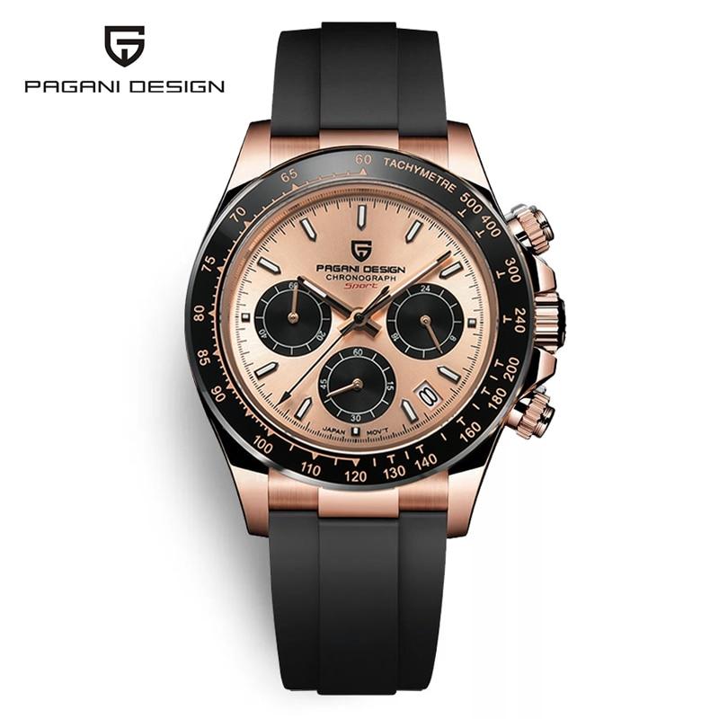 2021 New PAGANI DESIGN Men's Watches Gold Luxury Quartz Daytona watch men Sport Chronograph 100M Waterproof wristwatch men clock