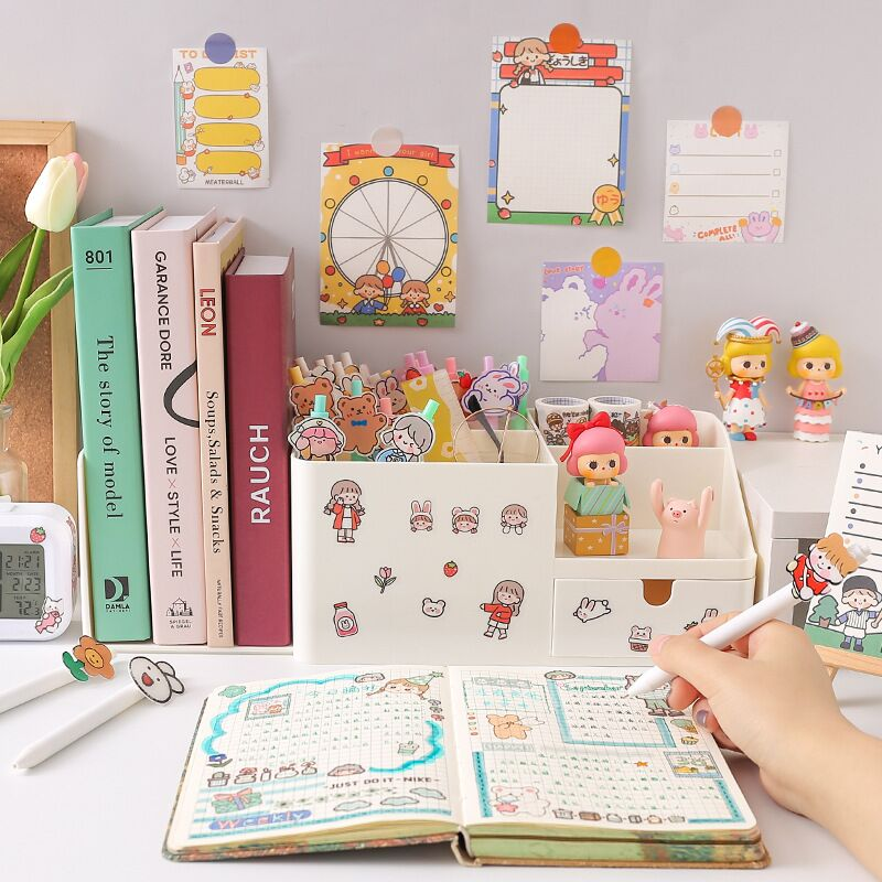 MINKYS Kawaii ABS 2 in 1 Multifunctional Desktop Organizer Pen Holder Books Stand Holder Bookends Free Sticker School Stationery