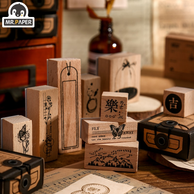 Mr Paper 10 Designs 3 Pcs/box Paper Mark Series Vintage Retro Style Creative Hand Account DIY Decor Basic Material Wooden Stamps