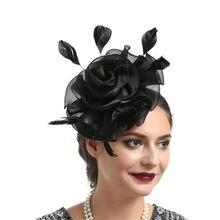 New Organza Women Wedding Party Feather Mesh Fascinator Hat Headdress Hair Clip Accessories