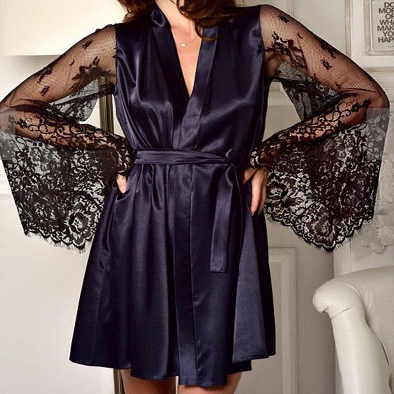 Для женщин, сексуальное кружевное воздушное страстное рукав спальный халат шелковые черные, белые, красные кимоно Интимная пижамы Ночная рубашка Женский банный халат S-XL