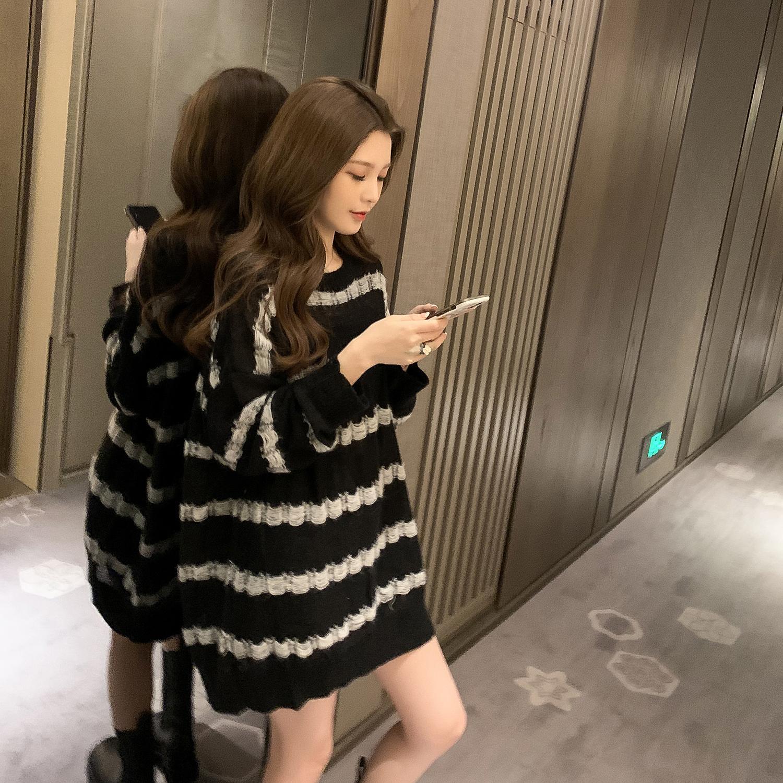Autumn 2021 new lazy wind long sweater women's long sleeve Pullover loose top women's stripe thin knitwear enlarge