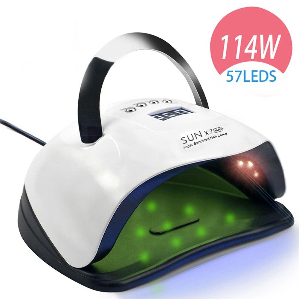 114W 57 PCS LED Nail Lamp Nail Dryer Dual hand LED UV Lamp For Curing UV Gel Nail Polish With Motion