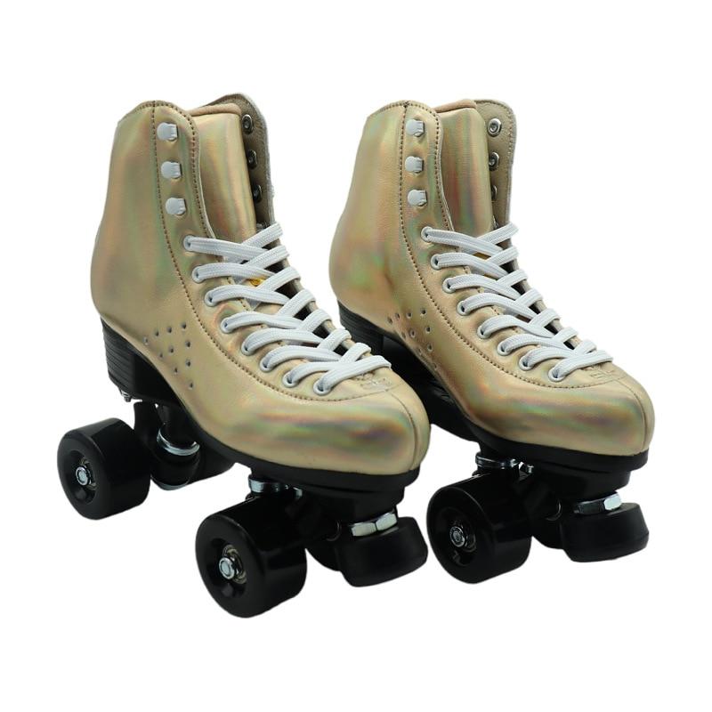 Кожаные роликовые коньки из микрофибры, золотые двойные роликовые коньки, ретро патины, полиуретановые колеса, профессиональные мужские и ...