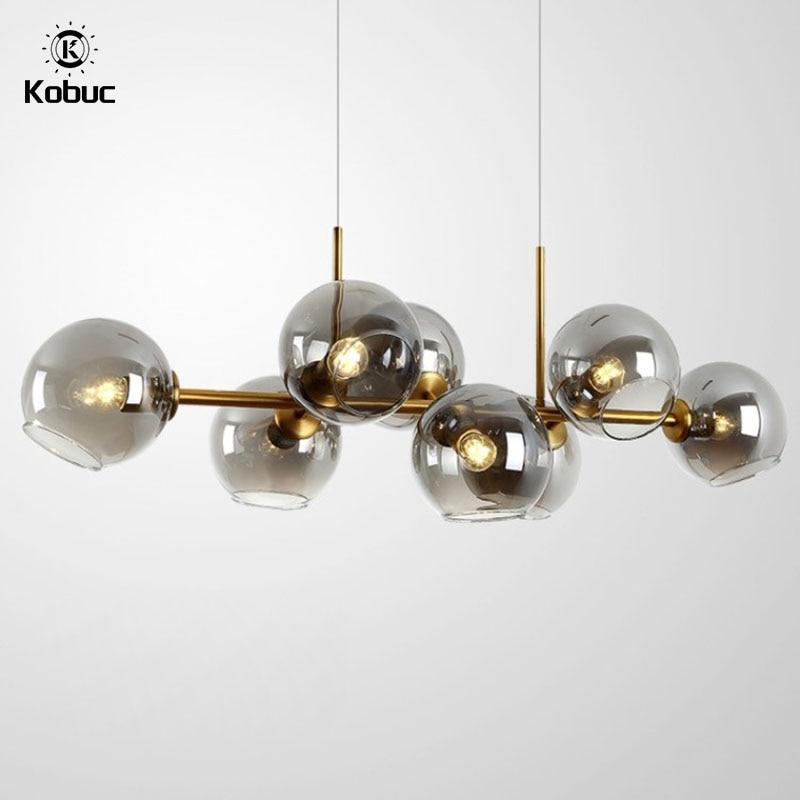 Kobuc الأوروبي الجدة مصباح معدني على شكل قلادة الفردية مطعم اللوبي الفاخرة بار مقهى ديكور المنزل كرة زجاجية معلقة ضوء