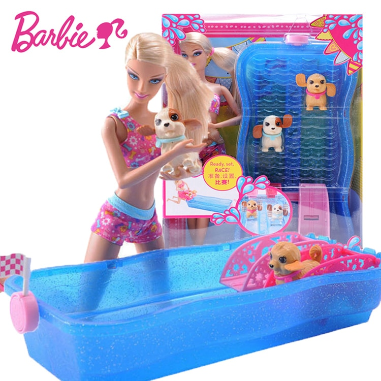 Original Barbie Swim & Race Pups Dog Swimming Game with Bath Girl Baby Doll for Birthday Gift Toys Boneca Juguetes for Children