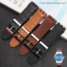 23MM Genuine Kalb Leder Uhr Band Stahl Verschluss Für Swatch IRONY YOS440 449 448 401G Uhr Armband armband armband Handgelenk Mann