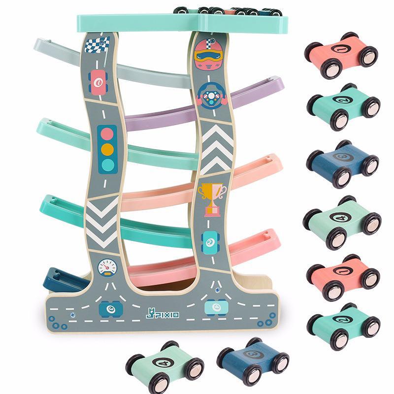 Patinete de juguete de pista de madera para niños, juego de pista...