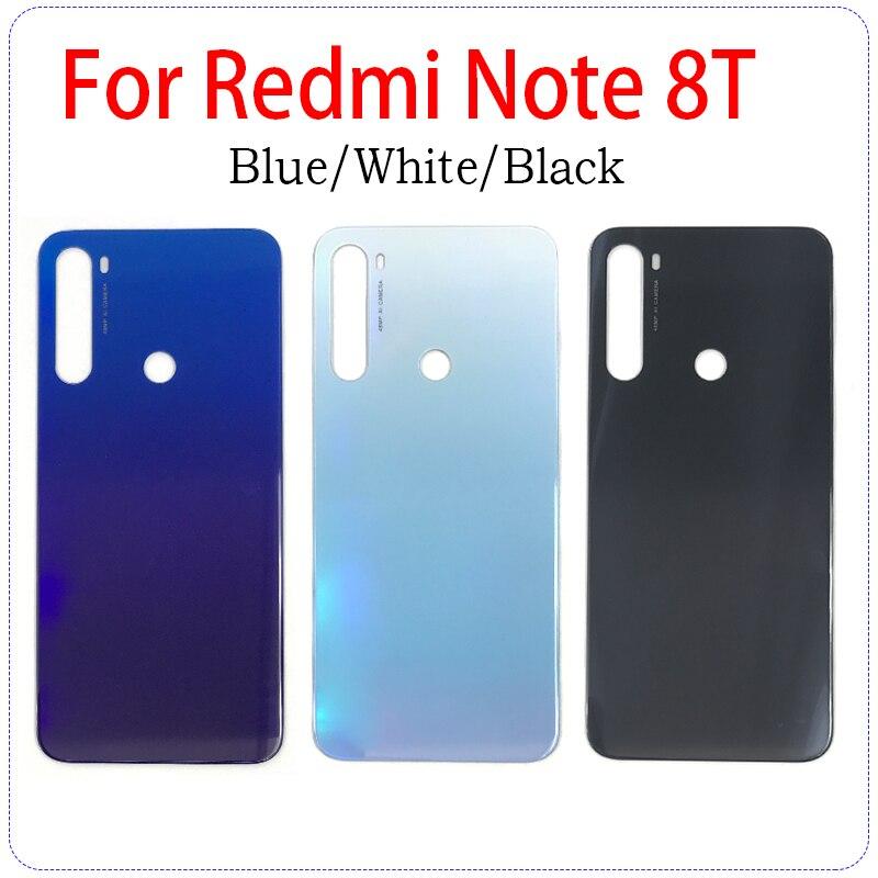 Cubierta trasera de cristal para Xiaomi Redmi Note 8T, cubierta trasera de batería, pegatina adhesiva con logotipo