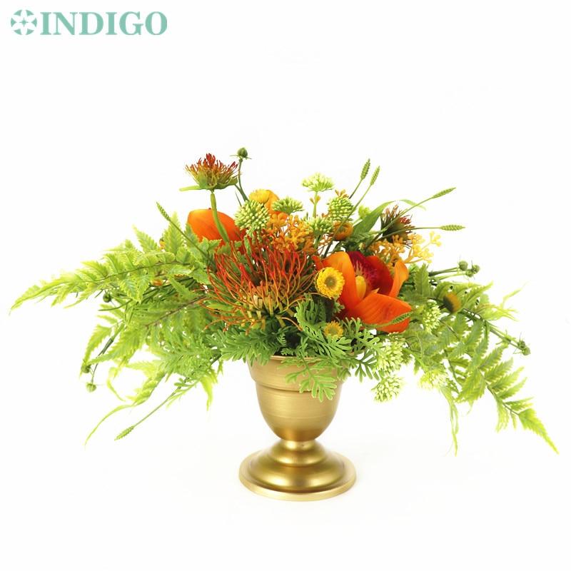 INDIGO Designed  - 1 Set Orange Cymbidium Nature Artificial Flower Arrangement Bonsai Bouquet Table Centerpiece Free Shipping