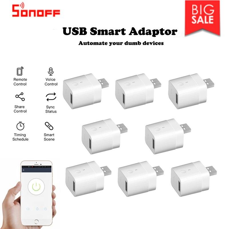 1/10 Uds. Sonoff Micro USB inalámbrico adaptador inteligente Flexible y portátil hacer dispositivos USB inteligentes a través de la aplicación de Control Google Home Alexa