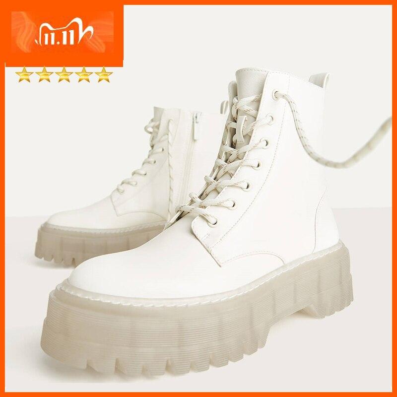 النساء حذاء من الجلد الشتاء المرأة مارتن الأحذية الكريستال باطن منصة الأحذية للمرأة INS الساخن النساء مكتنزة دراجة نارية الأحذية