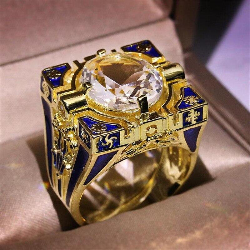 Choucong joyería de moda Retro 925 Plata de ley y oro relleno corte redondo blanco AAAAA circonita cúbica anillo de bodas para mujer eternidad