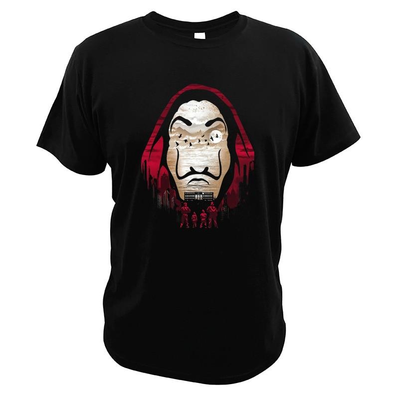 La Casa De Papel T Shirt Money Heist Tees House Of Paper TV Series 100% Cotton Digital Print Novelty T-Shirt Men