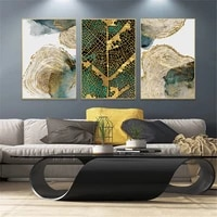 nordic green golden leaf wall art poster and print reticulation texture canvas painting tree rings pictures abstract home decor