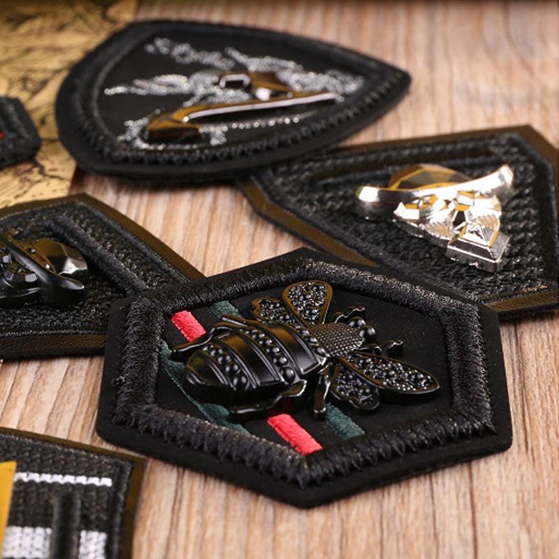 Parches bordados de cuero negro de Metal 3D para ropa, apliques militares del Ejército, insignia de abeja, etiqueta de rayas, coser en la ropa DIY