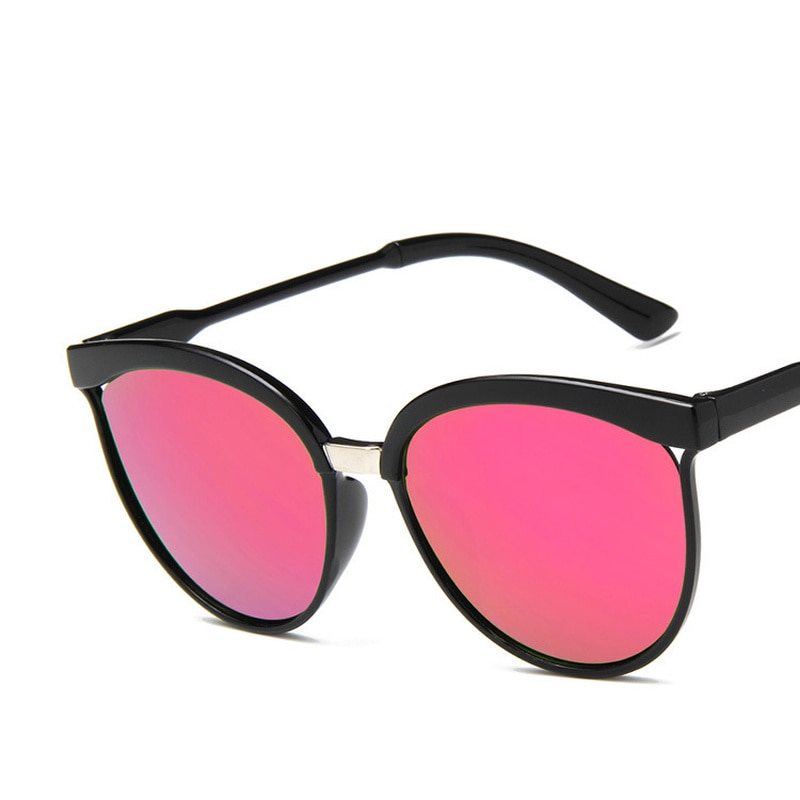 Classic Retro Round Sunglasses Fashion Women Brand Designer Pink Mirror Big frame Sun Glasses vintag