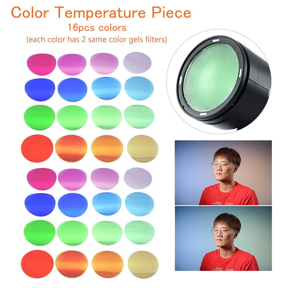 Godox V-11T filtros de Color Kit geles filtros 16 colores * 2 accesorios de fotografía para cámara serie Godox V1 Flashes de cabeza redonda