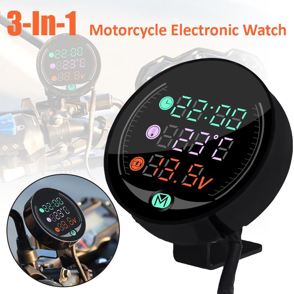 Водонепроницаемый 12/24 В ночного видения мотоцикла вольтметр Вольт дисплей светодиодный Мотоцикл Часы измеритель температуры воды