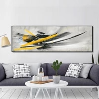 minimalistic black and yellow abstract oil painting wall art for living room home decor no frame