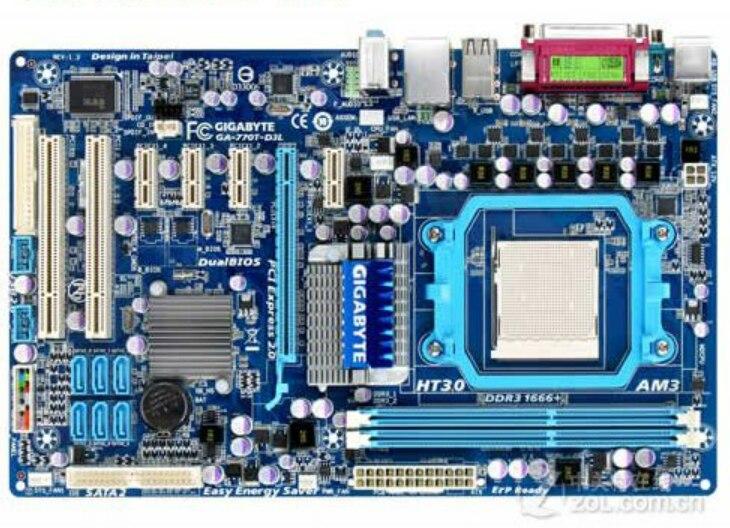 GA-770T-D3L الأصلي سطح المكتب اللوحة الأم ل DDR3 المقبس AM3 770T-D3L المستخدمة مبيعات الكمبيوتر الرئيسية