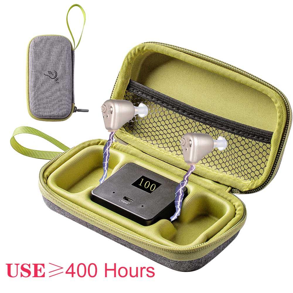 400 ساعة الرقمية مكبر صوت قابلة للشحن السمع السمعية BTE مضخم الصوت مساعدات للسمع سماعة شحن حقيبة السفر