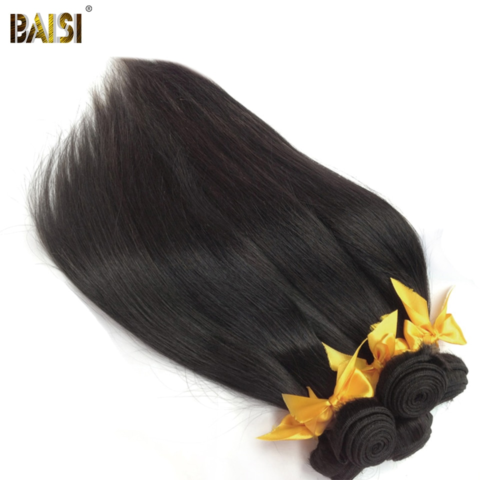 BAISI Haar Unverarbeitete Peruanische 10A Raw Reines Haar Gerade Haar Weben 3 Bundles 100% Menschliches Haar