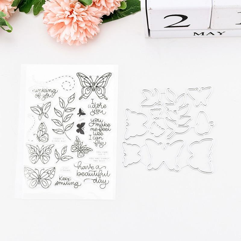 Carpeta en relieve herramienta de fabricación de tarjetas de acero al carbono sello transparente álbum para recortes de Fotos decoración mariposa flor sello transparente