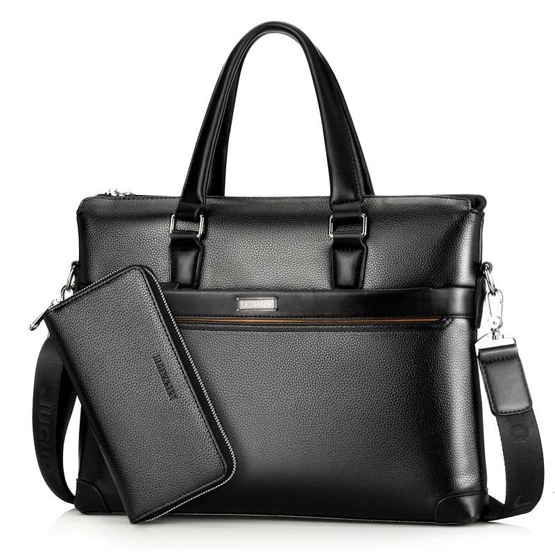 Draagbare Mannelijke Messenger Bag Sets Mannen Aktetas Voor Document Laptop Computer Handtas Schouder Korte Case Satchel Tassen недорого