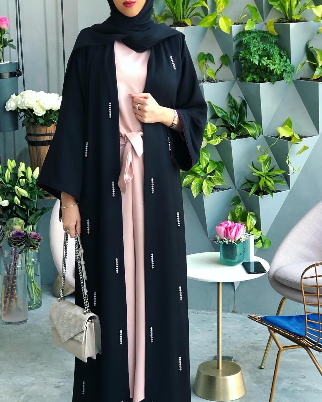 Abriu a mão feito de diamante beading muçulmano abayas vestido peignoir moda abaya Muçulmano islâmico abaya roupas serviço de oração F1842