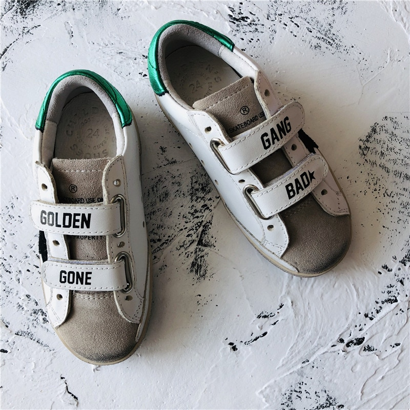 Children's Spring and Summer New First Layer Cowhide  Old Small Dirty Shoes Boys and Girls Casual Velcro  Kids Sneakers CS184 enlarge