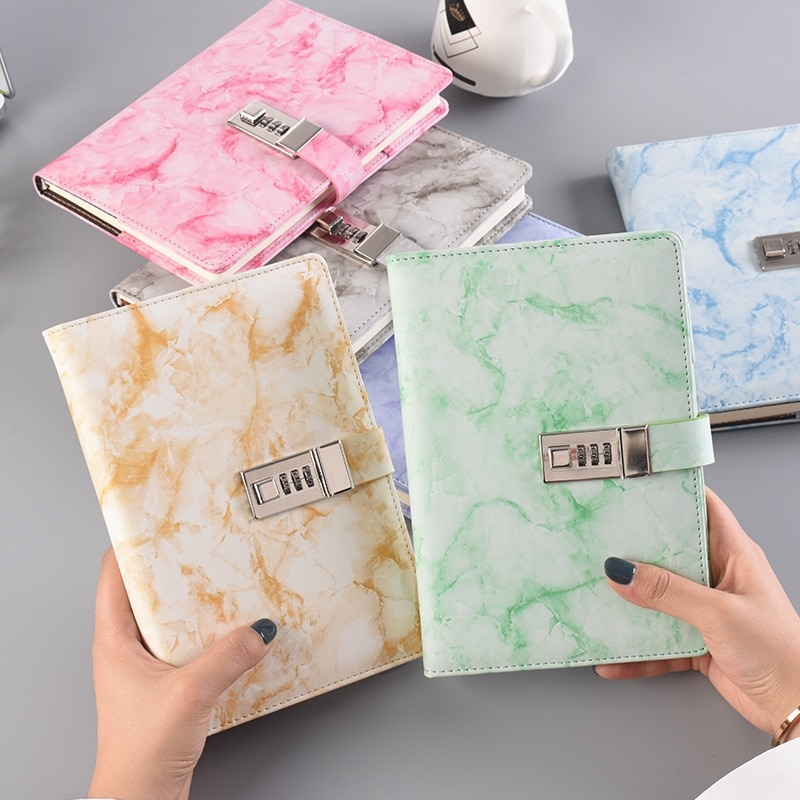 New Password Notebook Marble Texture 100 Sheets Personal Diary with Lock Code Thick Notepad Leather Office School Supplies Gift