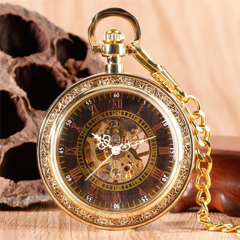 Luxury Yellow Gold Mechanical Hand Winding Skeleton Pocket Watch for Men Women Roman Numeral Dial Fob Pendant Chain Open Face