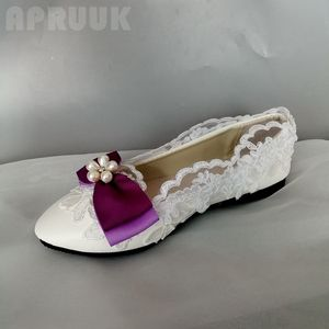 Purple bow butterfly-knot flats shoes woman plus size 41 42 female ladies white lace sexy daily party dress birthday party flats