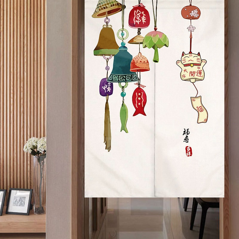 Campanas de viento japonesas, cortina de separación para puerta, cortina decorativa para cocina y baño, Media cortina Feng Shui, cortina Noren