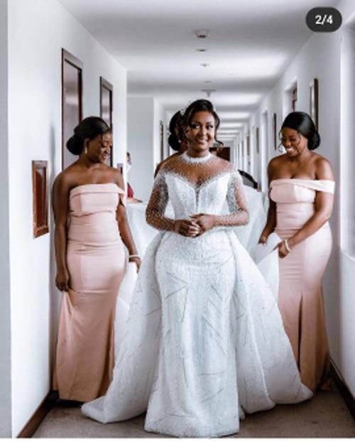 Ghana Heavy Beading Mermaid Wedding Dresses With Detachable Train Sheer Neck Long Sleeves Bridal Gowns Vestidos Custom Made 2022
