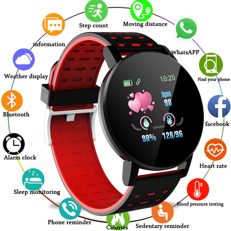 2020 New Touch Screen 3D Sport Watch119plus Colorful  Pedometer Smart Watch Fitness Heart Rate Monitor Women Clock Smartwatch m4