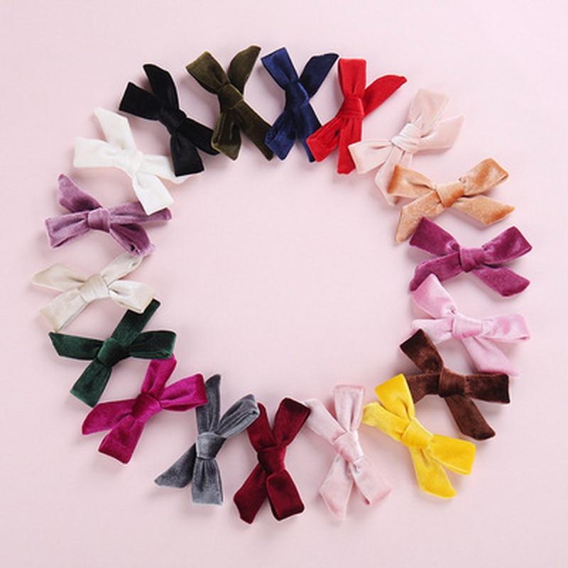 20pcs/lot Girls Cute Velvet Bow Hairpin Mini Hair Clip for Kids Baby Blue Bowknot Barrette Handmade