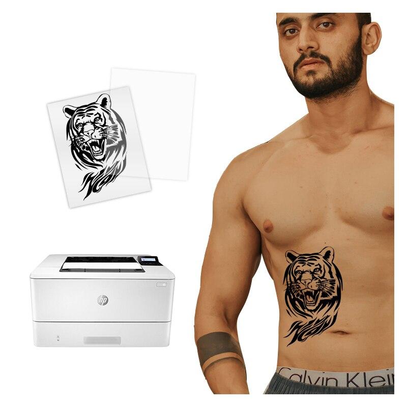 Fashion 10 Sets Men Boys Art Tattoo Paper Waterproof Temporary Skin Paper with Inkjet or Laser Print Printers