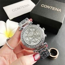 2140FZM    New fashion diamond small dial watch three-eye dial ladies wholesale factory