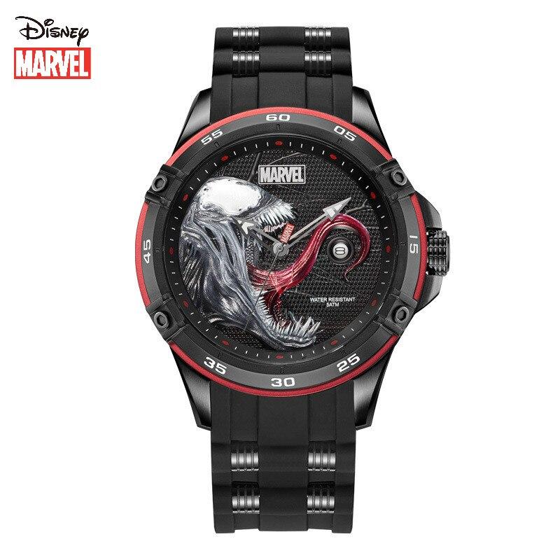 Veneno à Prova Relógio de Quartzo Disney Marvel Real Relógio Masculino Dwaterproof Água Tendência Casual Multifuncional